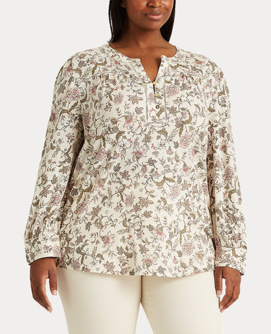 Woman Floral Cotton Jersey Top In Mascarpone Cream Multi