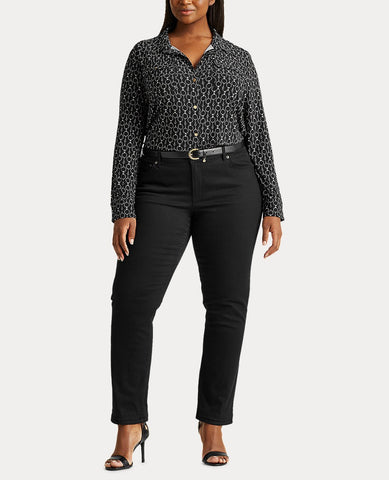 Woman Print Stretch Jersey Shirt In Polo Black Multi