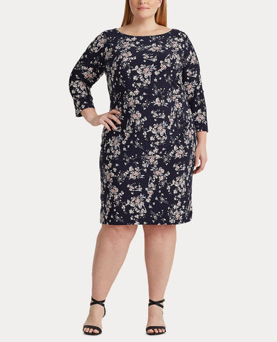 Woman Floral Ruched Jersey Dress In Lighthouse Navy/Blush/Multi
