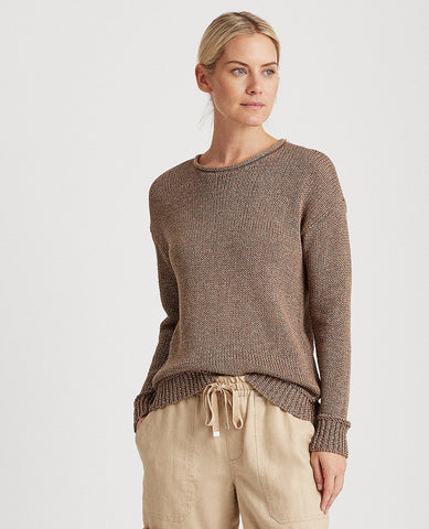 Petite Cotton-Blend Sweater In Gold
