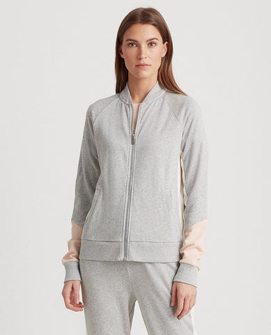 Petite French Terry Cotton Jacket In Pearl Grey Heather/Pink Hydrangea/Mascarpone Cream