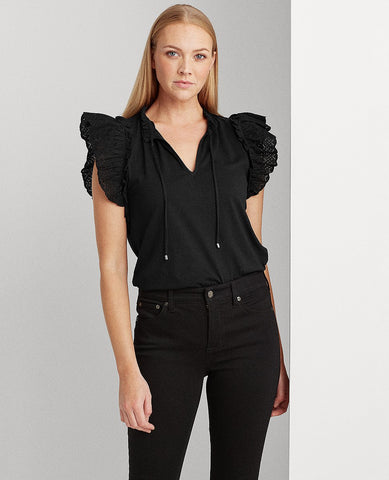 Ruffled Cotton Top In Polo Black