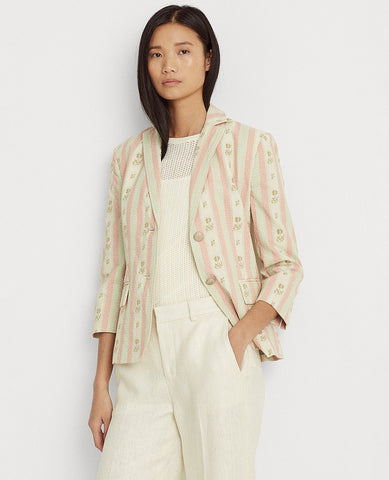 Petite Floral-Striped Jacquard Blazer In Pink Multi