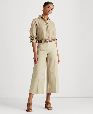 Cotton Wide-Leg Pant In Birch Tan