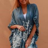 Bohemian Kimono - cotton Denim Blue Frill trim