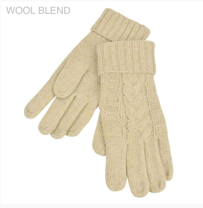 Wool blend Knitted Gloves - Braid Pattern Latte