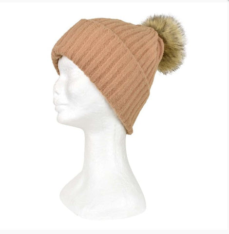 Knit Beanie with plain stripe & Pom Pom