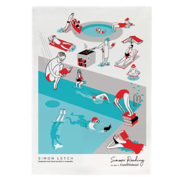 Burbia Summer Reading Poolside Tea Towel