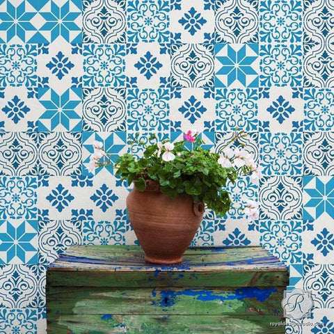 Mediterranean Tile Stencil Set- Royal Design Studio