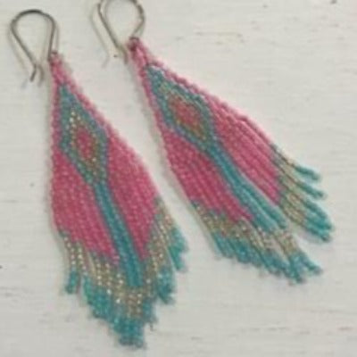 Desert Pearl Beaded Inca Earrings - Hot Pink, Silver & Turquoise