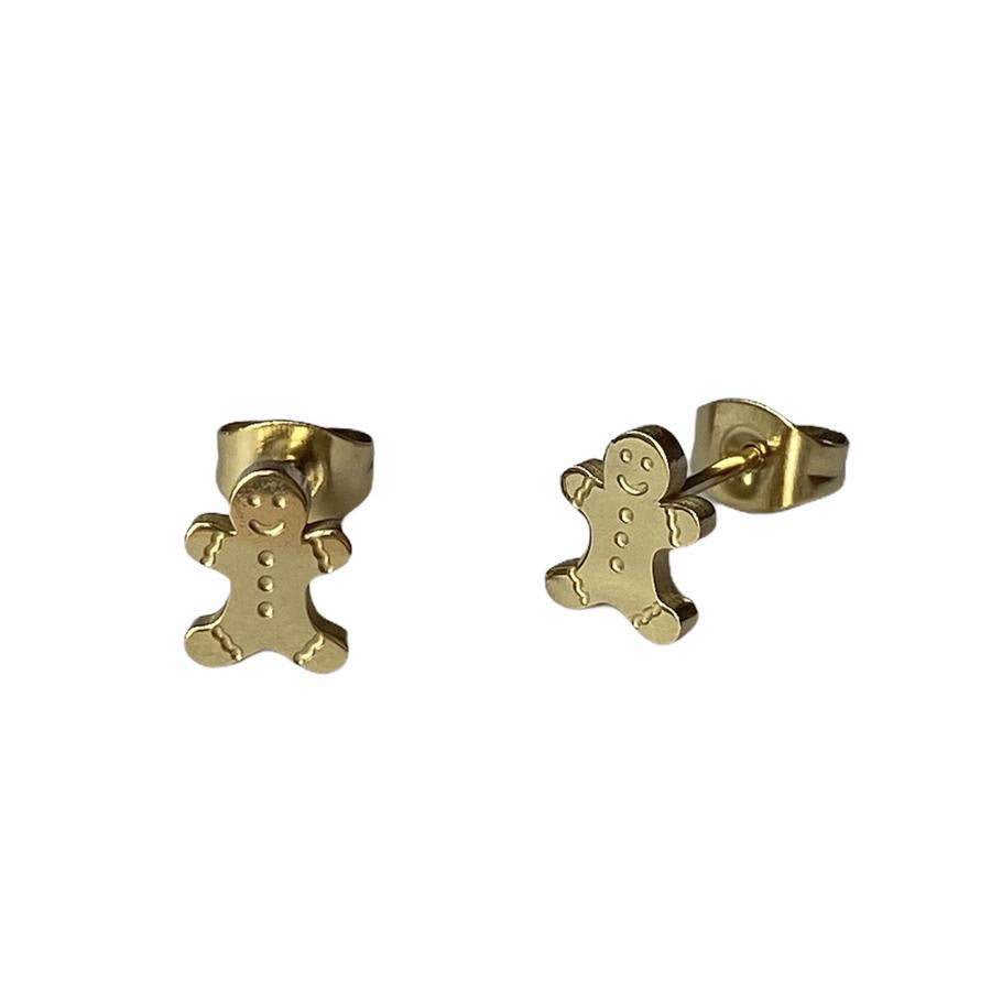 Gingerbread Earring Studs - Silver or Gold