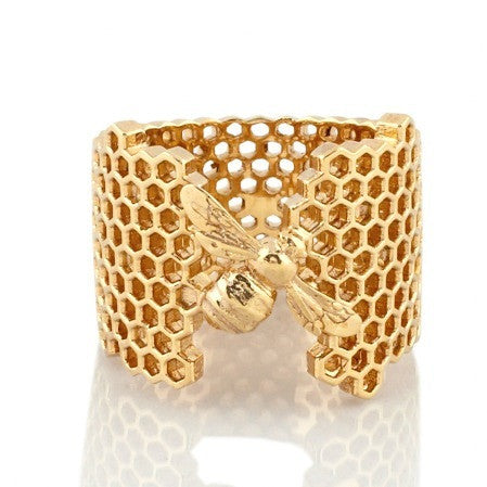 Collect Bowerbird Honeycomb Bee Ring - Gold