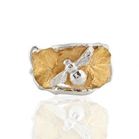 Collect Bowerbird Twig and Bee Ring - Silver/Gold