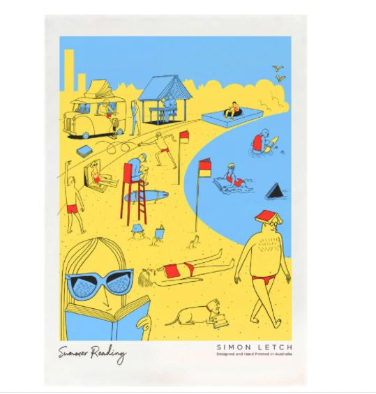 Burbia Summer Reading Beachside Tea Towel