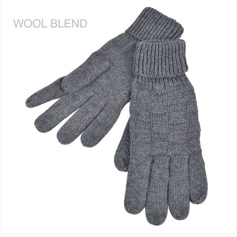Wool blend Knitted Gloves- Weave  Pattern