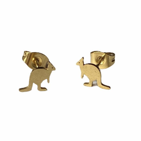 Kangaroo Earring Studs - Silver or Gold