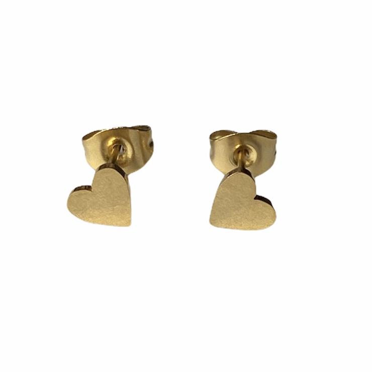 Heart Earrings Studs - Silver or Gold