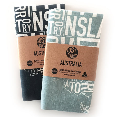 Burbia Australia Tea Towel - Two colours
