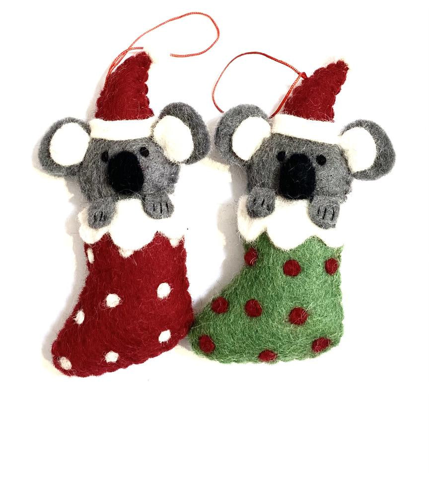 Pashom Christmas Koala in Stocking - Red or Green