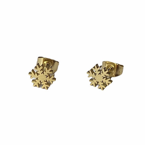 Snowflake Earrings Studs - Silver or Gold
