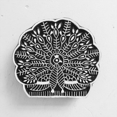 Yogini Peacock Wooden Print Block