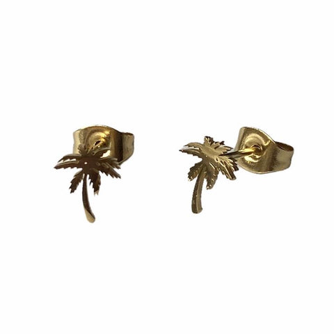 Palm Tree Earring Studs - Silver & Gold