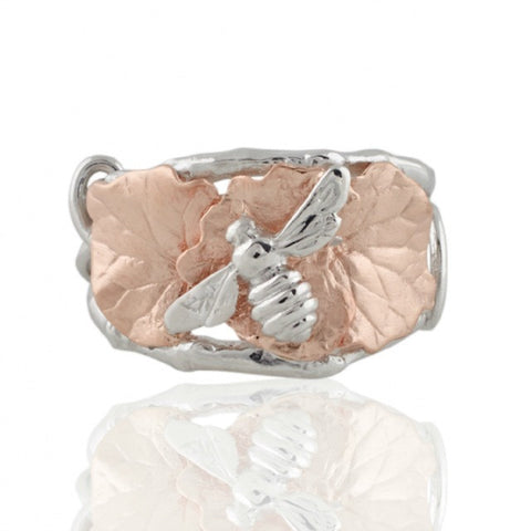 Collect Bowerbird Twig and Bee Ring - Silver/Rose Gold