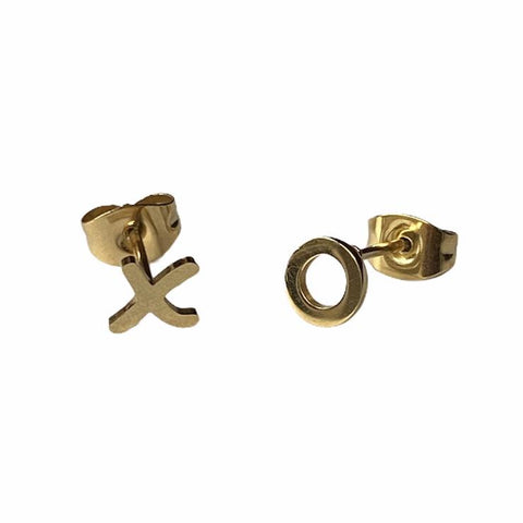 Kisses and Hugs Earring Studs - Silver & Gold