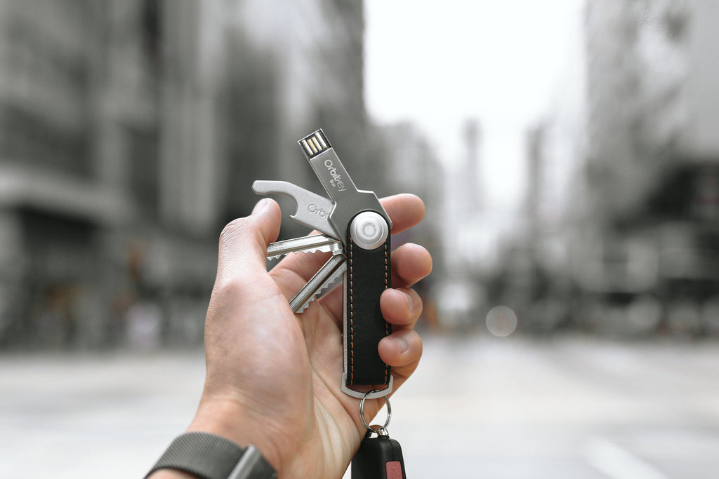 Orbit Key Leather Key Ring