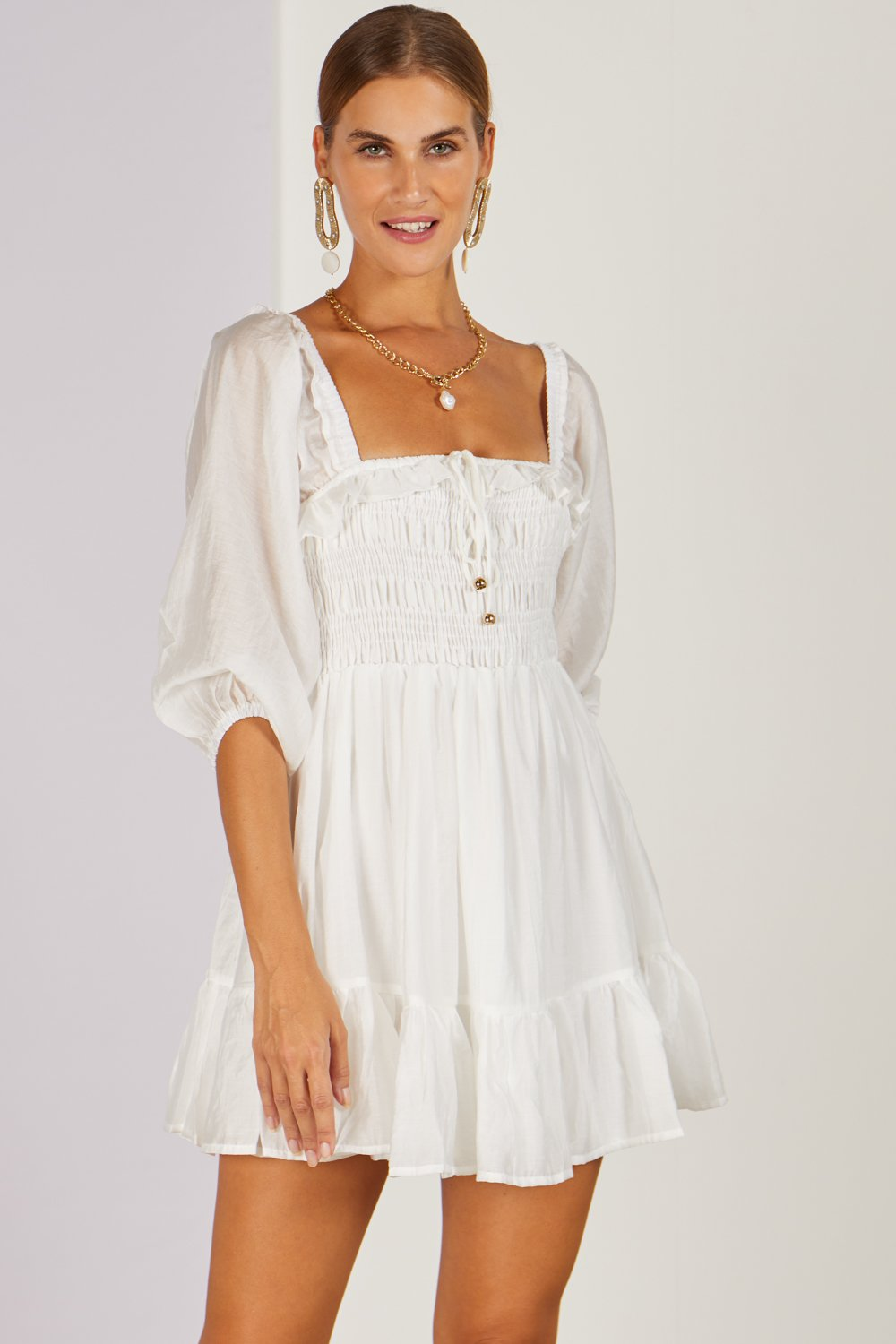 Delphine Mini Dress White