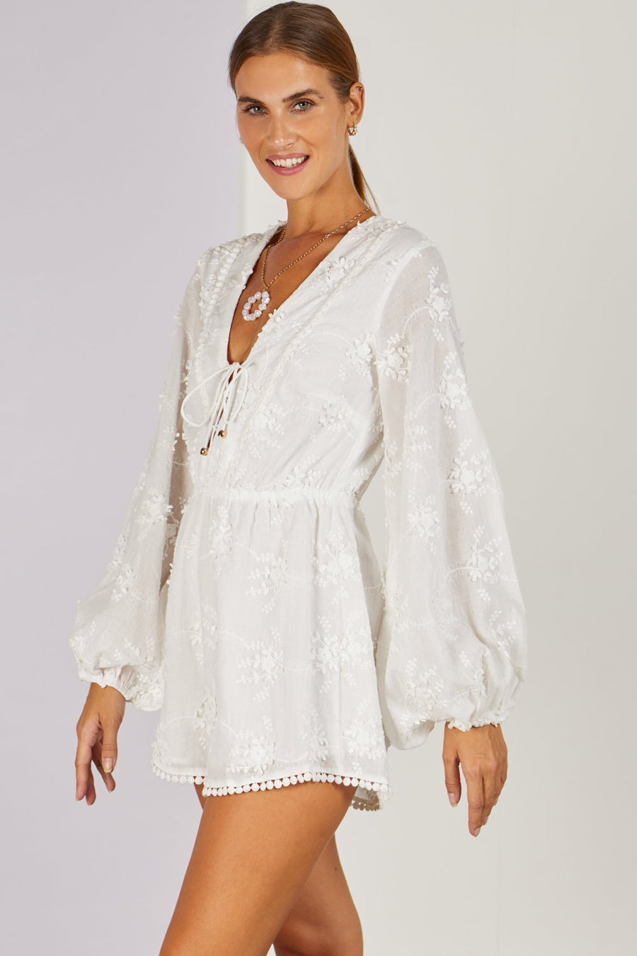 Madelie White Broderie Playsuit