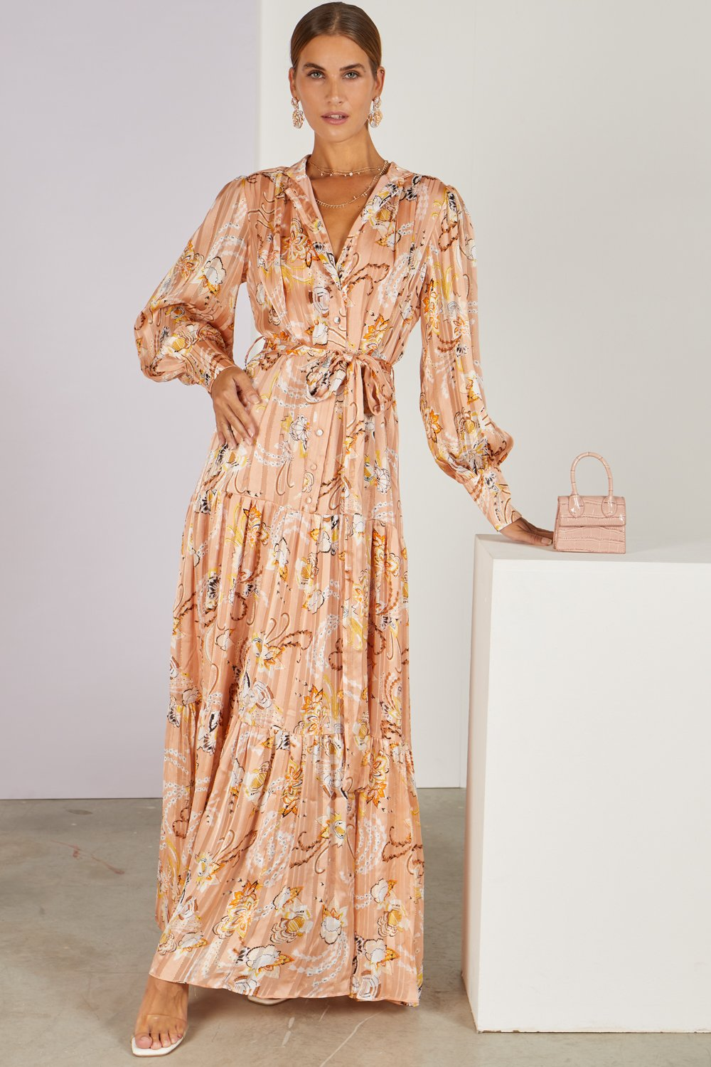 High Standards Metallic Paisley Maxi Shirt Dress Blush