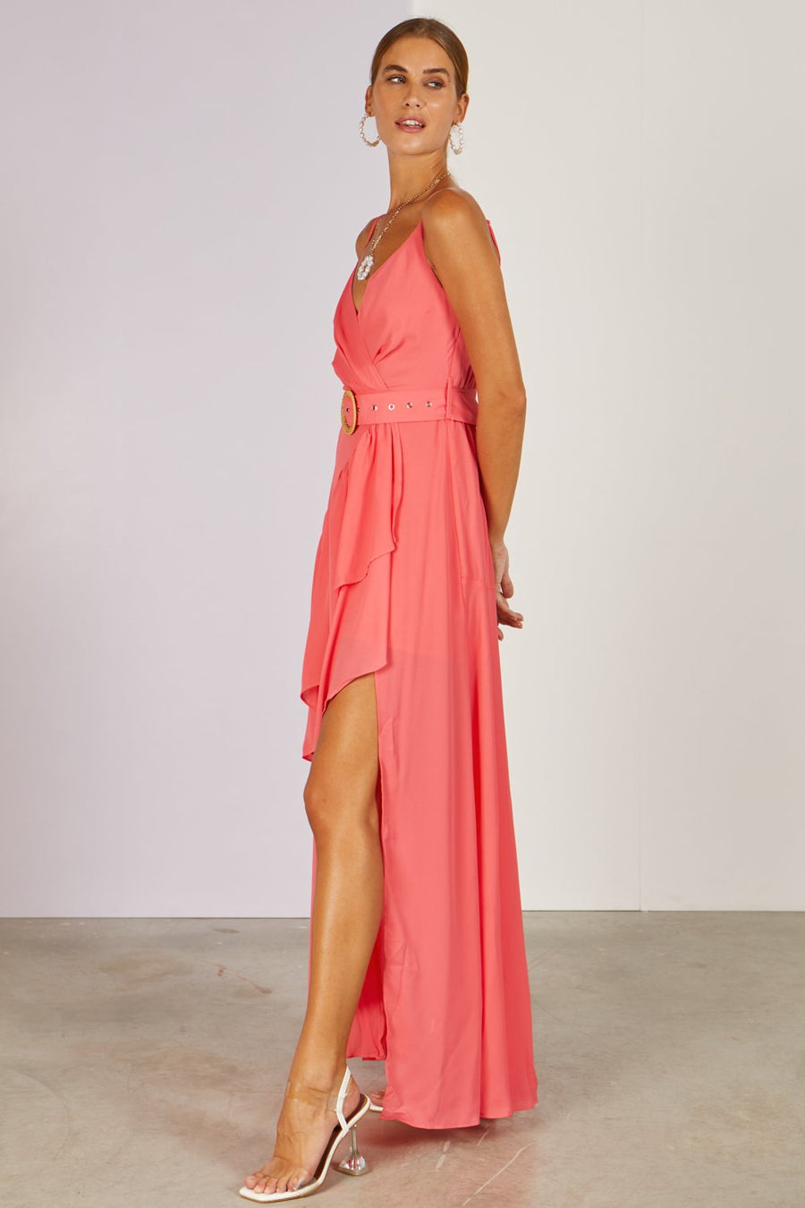 Pitaya Midi Dress Coral