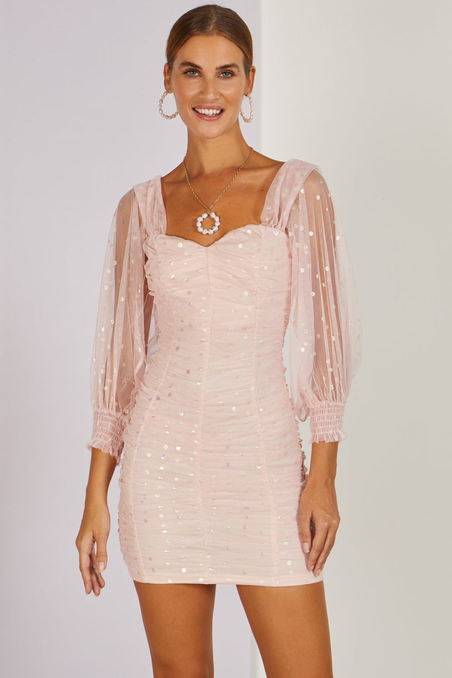 Two Timer Sequin Mini Dress Blush