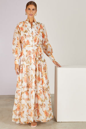Fayette Faded Roses Maxi Dress White/Peach