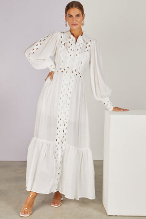 Margot Cut-out Maxi Shirt Dress White