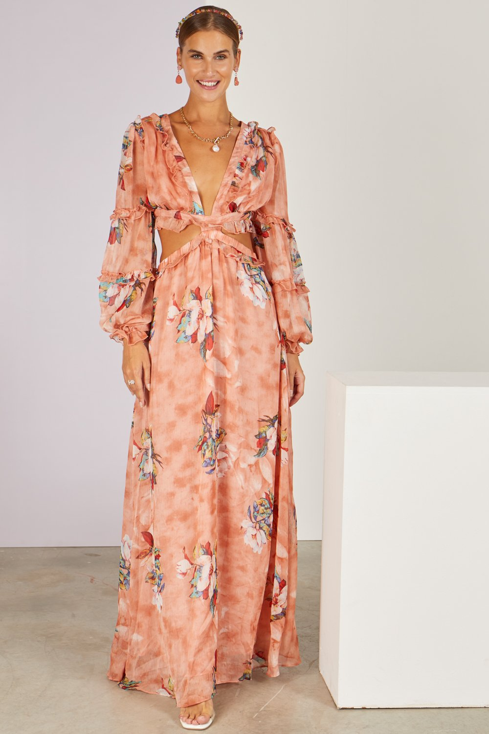Mamacita Faded Floral Cut-out Maxi Dress Blush