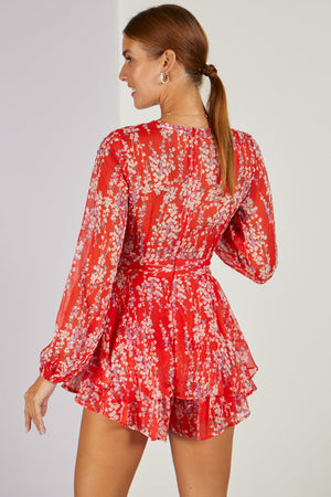 Budding Love Floral Playsuit Red