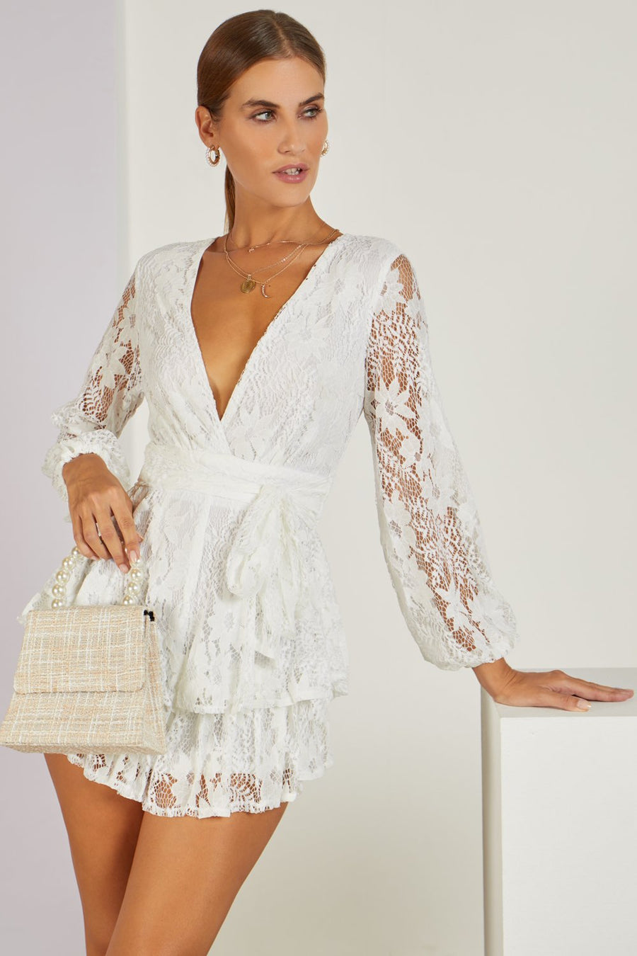 Yolanda Lace Playsuit White