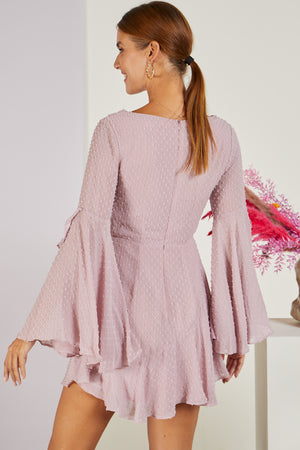 Azalea Flared Sleeve Dress Blush