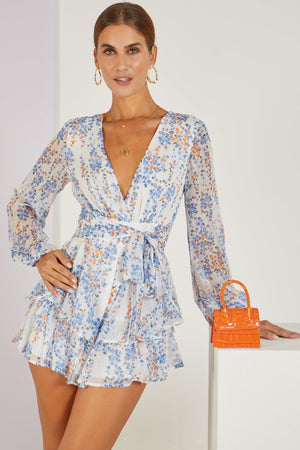 Budding Love Floral Playsuit Blue