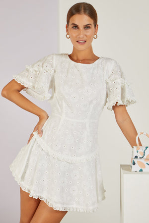 Chamomile Broderie White Mini Dress