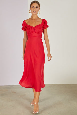 Meet The In Laws Midi Dress Red