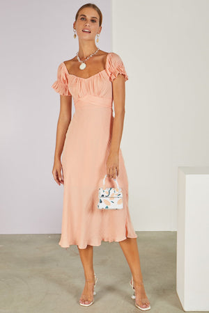 Meet The In Laws Midi Dress Peach