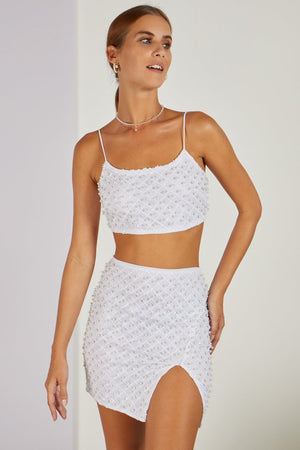 Take Your Fancy Top & Skirt Pearl Co-ord White