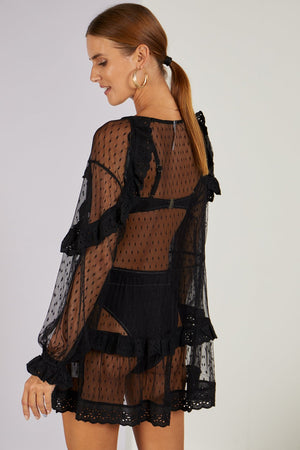 Pollyanna Polka Dot Sheer Cover-up Black