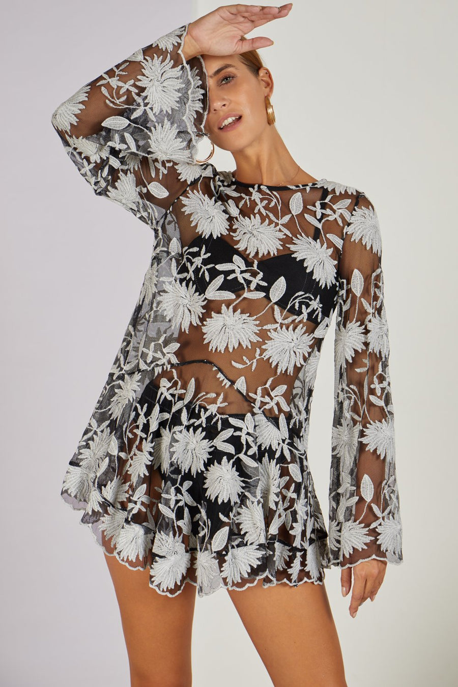 Primula Cover Up Mini Dress Black