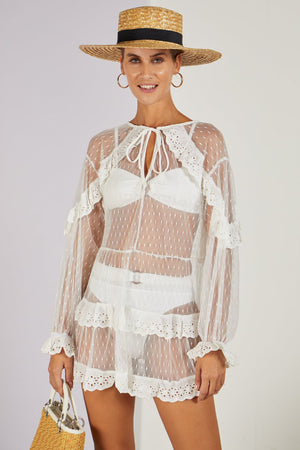 Pollyanna Polka Dot Sheer Cover-up White