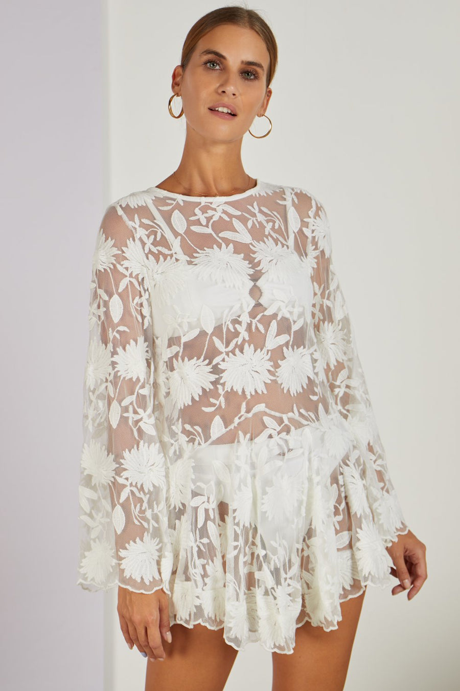 Primula Cover Up Mini Dress White