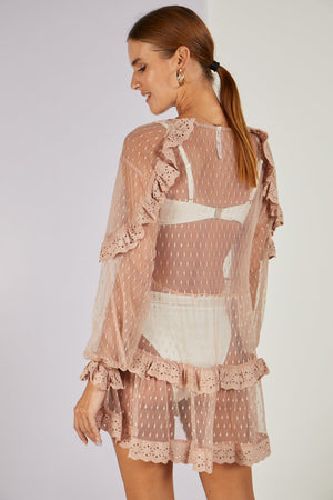 Pollyanna Polka Dot Sheer Cover-up Mocha